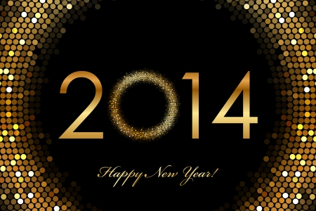 sequin: Vector - 2014 Happy New Year 2014 glowing background