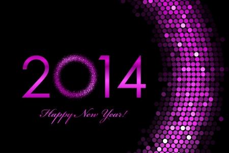sequin: Vector 2014 Happy New Year purple background