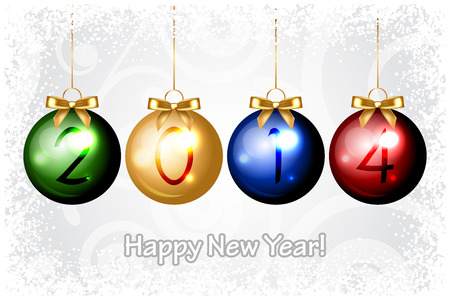 Vector 2014 Happy New Year background with colorful christmas decorations Vector