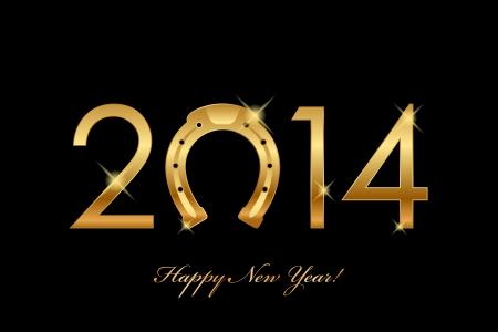 in bocca al lupo: Vector 2014 sfondo d'oro a ferro di cavallo per buona fortuna l'anno del cavallo