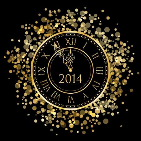 happy hours: 2014 - Vecteur brillant horloge Nouvel An Illustration