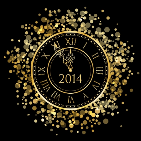 number 12: 2014 - Vector shiny New Year Clock