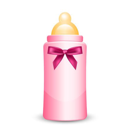 Vector illustration de la bouteille de bébé rose avec un arc