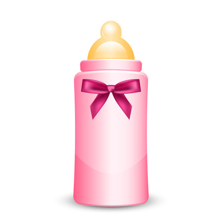 Vector illustration of pink baby bottle with bow