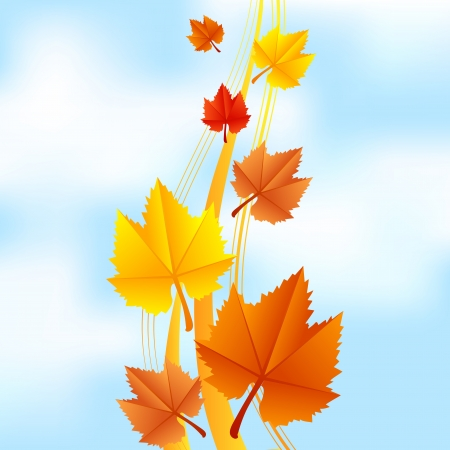 Vector illustration of fall leaves on sky background Vector