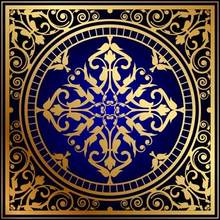 Vector illustration of oriental blue gold rug
