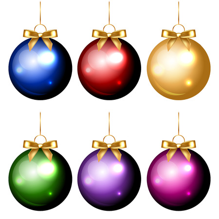 Vector set of shiny colorful christmas decorations Vector