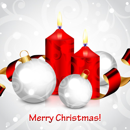 Vector Merry Christmas background with red candles and decorations Vector