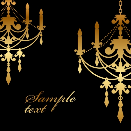 chandelier background: Vector black background with gold chandelier