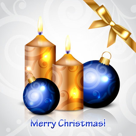 Vector Merry Christmas background with gold candles and decorations Vector