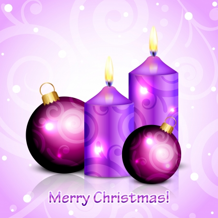 Vector Merry Christmas purple background with candles and decorations Vector
