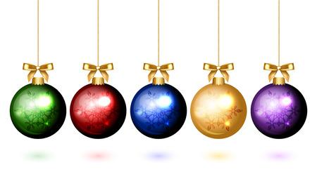 christmas  ornament: Vector colorful christmas balls with snowflake ornament Illustration