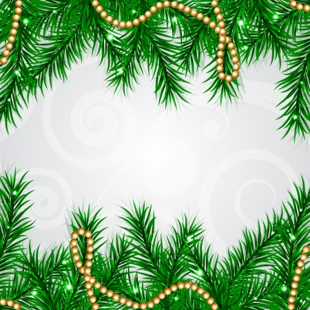 Vector Christmas frame with fir and decorations Vector