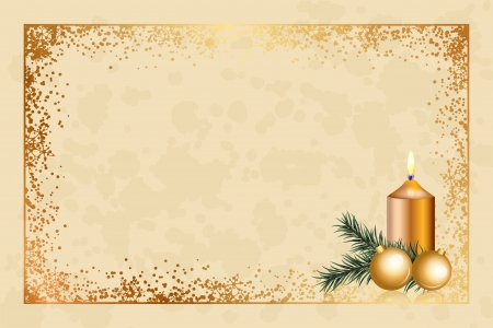 Vector parchment background with christmas decorations Vector