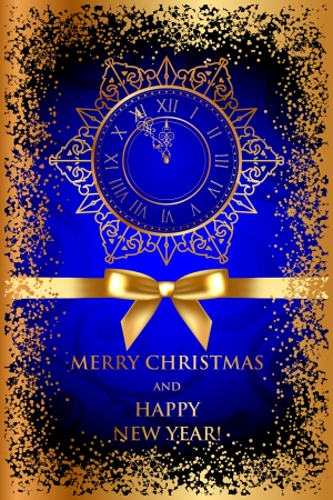 Vector Merry Christmas   Happy New Year blue background with gold decorations Vector