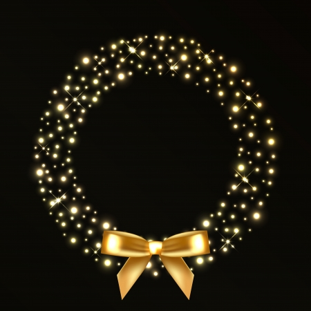 ruban noir: Vector illustration de guirlande de Noël de lumières d'or
