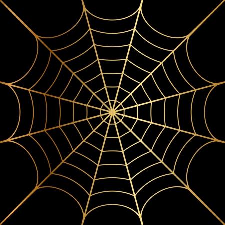 Vector illustratie van goud spinneweb Stock Illustratie