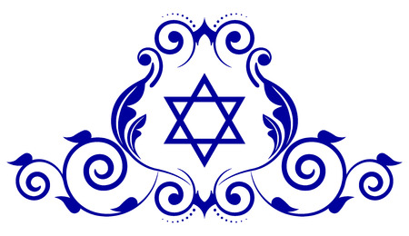 jewish star: Vector floral icon with star of David