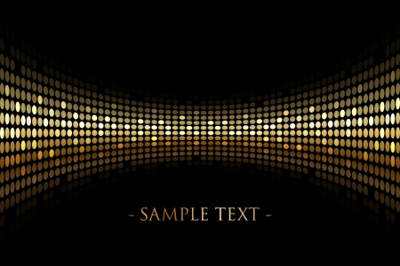 Vector black background with gold lights with space for your text Çizim