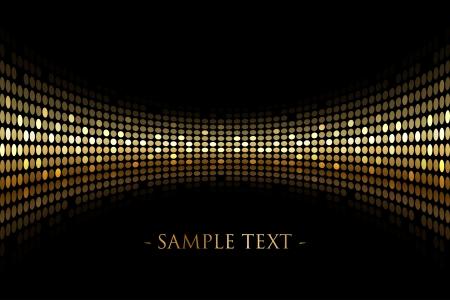 Vector de fondo negro con luces de oro con el espacio para el texto