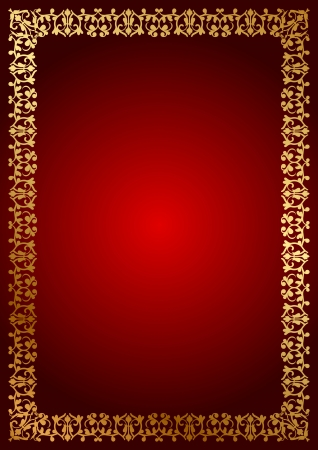 Vector red background with floral border Vector