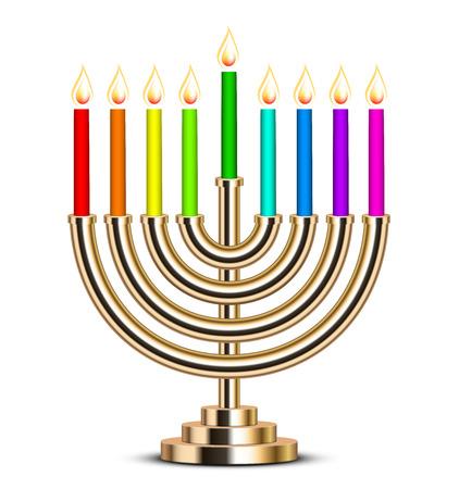 simbolos religiosos: Ilustraci�n vectorial de oro Hanukkah menorah Vectores