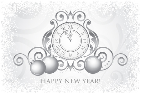 Vector Happy New Year card with clock and decorations Vector