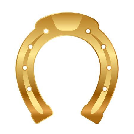 Vector illustration of gold horseshoe  good luck talisman