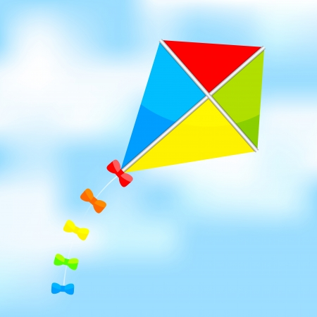 paper kite: Vector illustration of colorful kite on sky