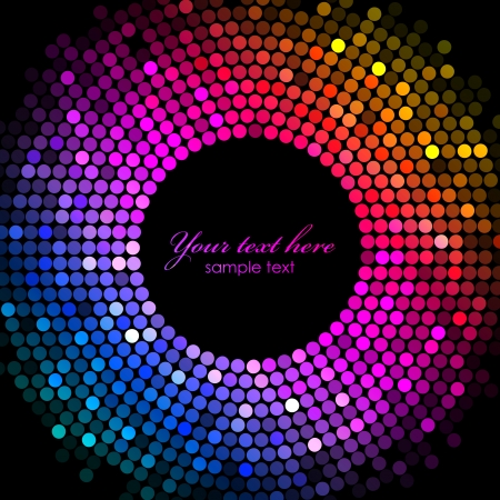 disco lights: Vector colorful disco lights frame