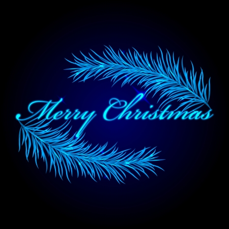 Vector Merry Christmas frame with fir Vector