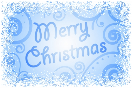 Vector Merry Christmas on frozen window Vector