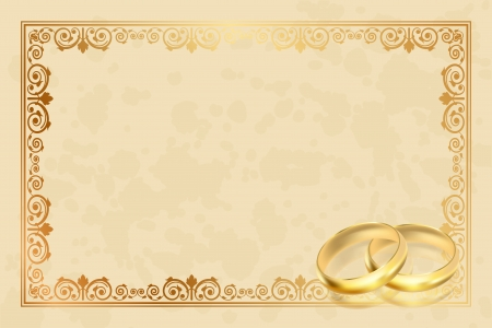 decoracion boda: Marco pergamino vector con anillos de oro Vectores