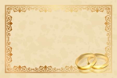 ślub: Wektor pergamin rama z złote pierścienie Ilustracja