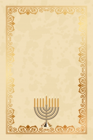 jewish: Vector parchment frame with the nine-branched Menorah  Hanukiah