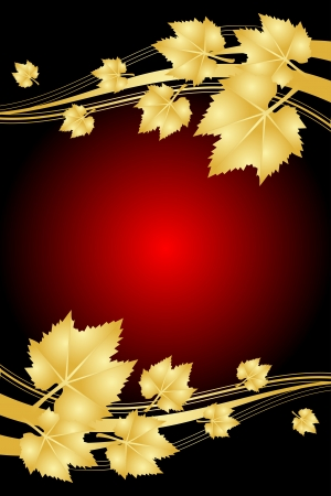 exfoliation: Vector red background with gold leaves Illustration
