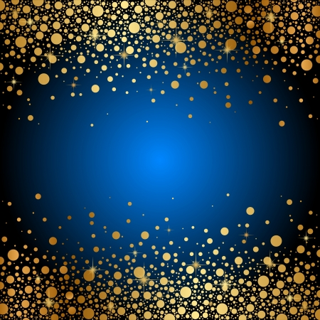 Vector blue background with gold sparkles
