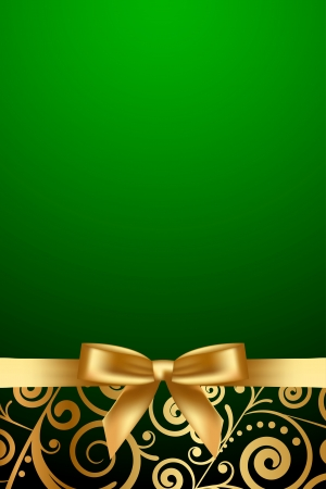 Vector green luxury frame with gold ribbon Illustration