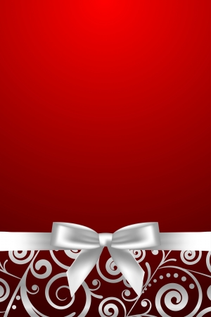 Vector red and white luxury frame with ribbon