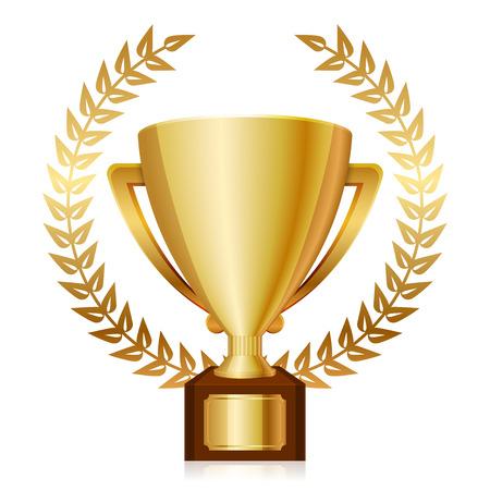 gagnants: Vector illustration de troph�e et lauriers or brillant