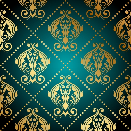 tapet: Vector turquoise and gold ornate wallpaper