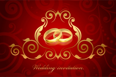 Vector red and gold wedding invitation Vector