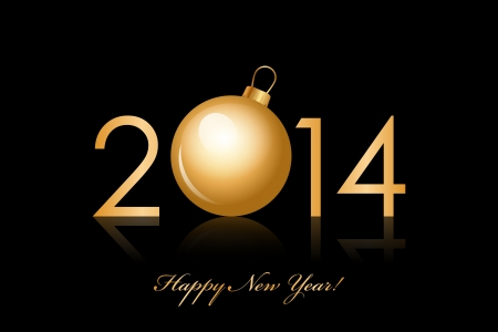 Vector 2014 Happy New Year background with gold christmas bauble Vector
