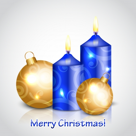 Vector Merry Christmas background with candles and gold decorations Vector