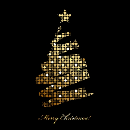 Vector Merry Christmas card with christmas tree from disco lights