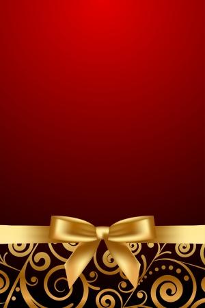 ゴールド リボンでベクトル赤と高級フレーム  イラスト・ベクター素材