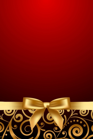 Vector red and luxury frame with gold ribbon Vector