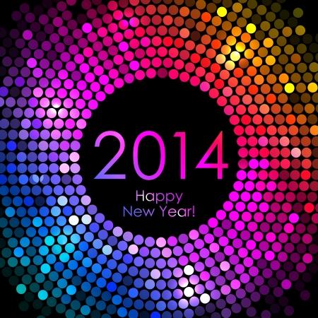 Vector - Frohes Neues Jahr 2014 - bunte Disco-Lichter Hintergrund