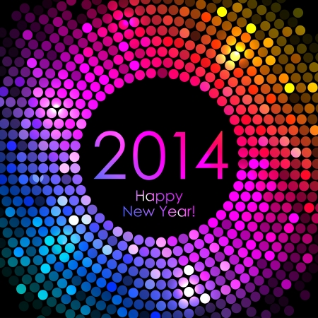 glisten: Vector - Happy New Year 2014 - colorful disco lights background