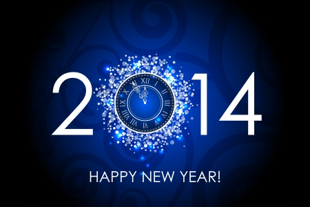 Vector 2014 Happy New Year blue background with clock Vector